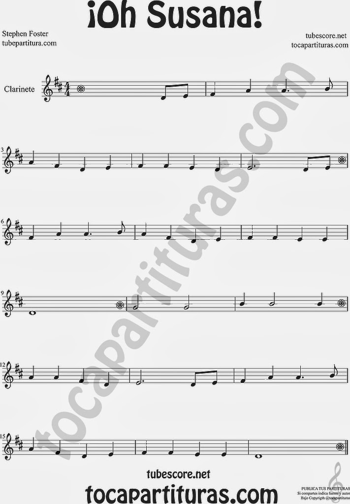 ¡Oh Susana! Partitura de Clarinete Sheet Music for Clarinete