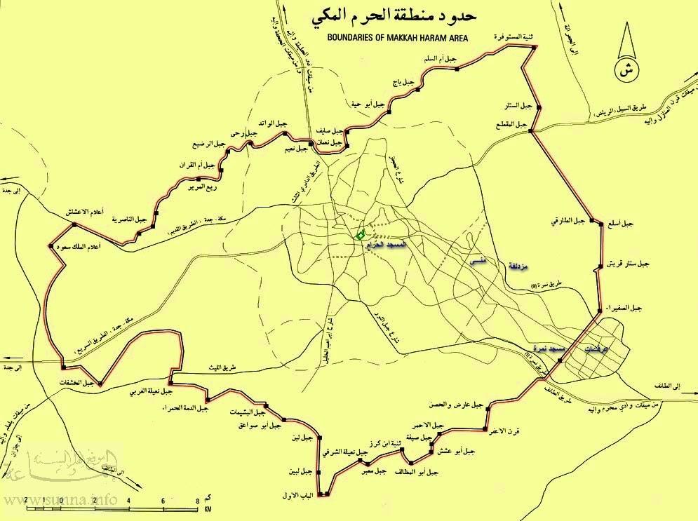 Peta perbatasan tanah suci Makkah