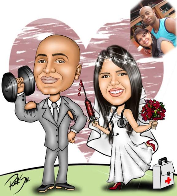 caricatura noivo levandando peso e noiva com injeção na mão