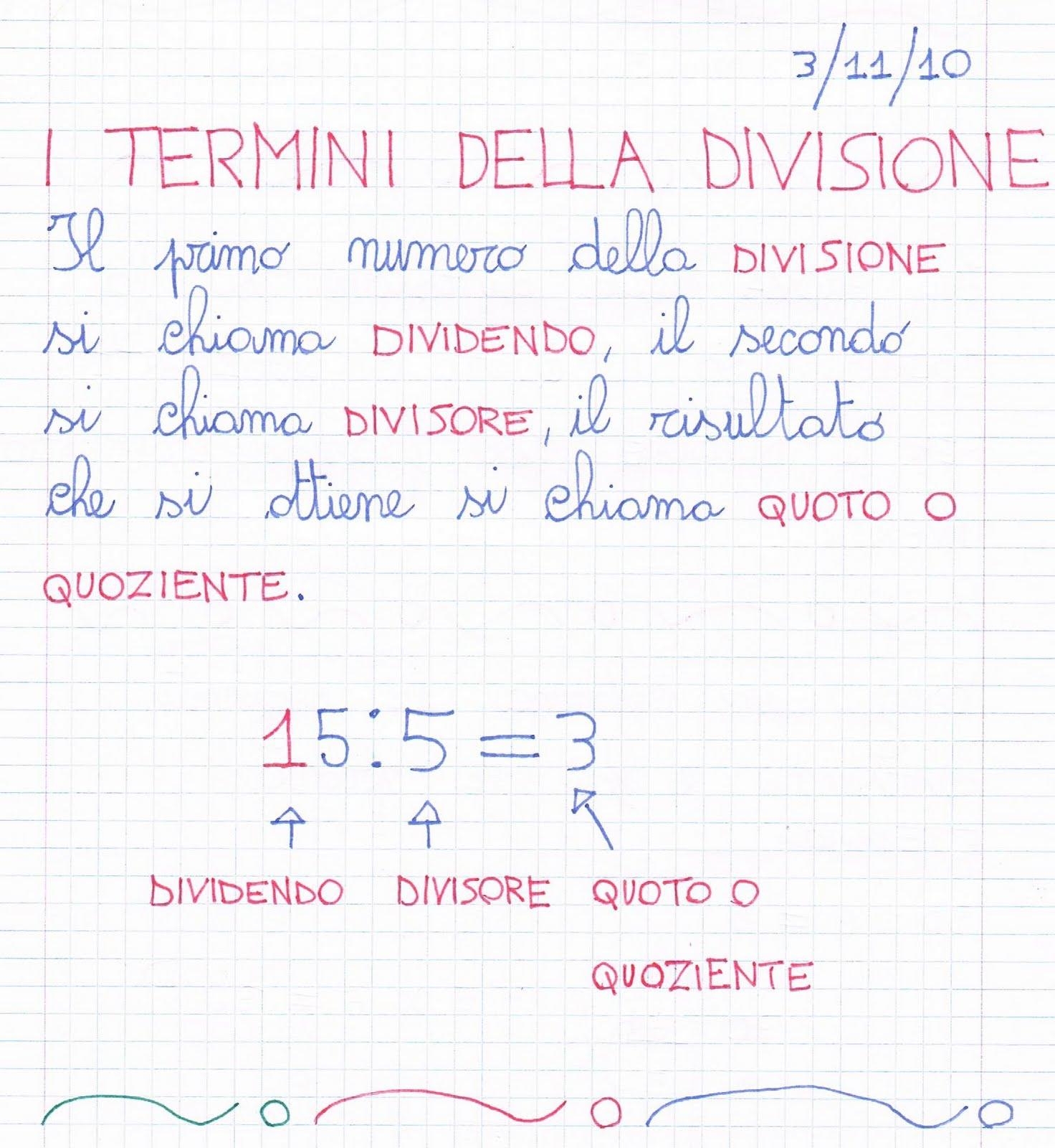Ben noto I termini della divisione: dividendo, divisore, quoziente, quoto ZN68