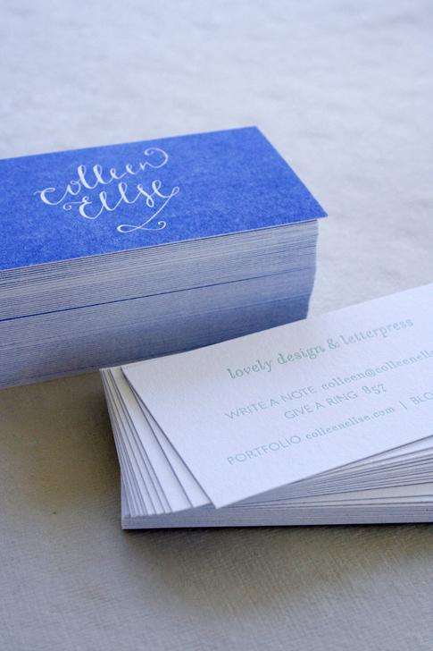 blue letterpress business cards