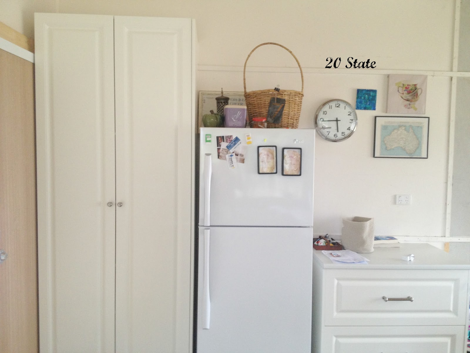white fridge in kitchen. 20 state: white flatpack u shaped kitchen with island - just add paint! fridge in n
