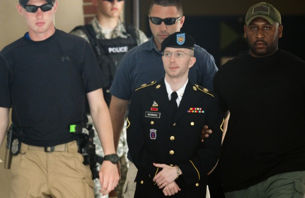 Army Pfc. Bradley Manning leaving a military court facility in July