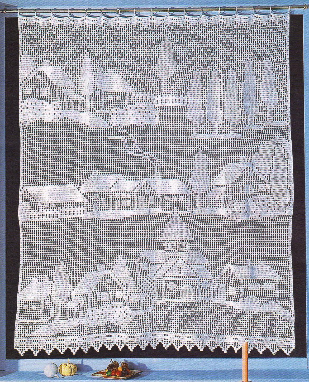 Филейное вязание узоры штор