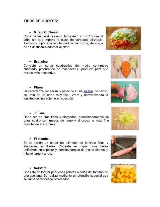 Mis cositas con amor tipos de corte en frutas y verduras for Cortes de verduras gastronomia pdf