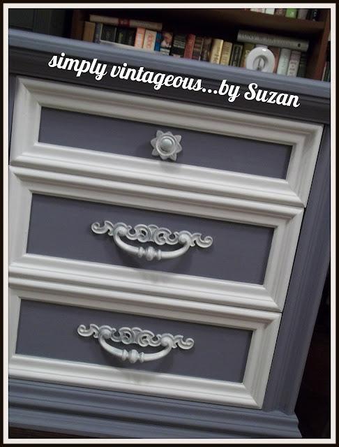 lavender, annie sloan, custom color, old violet, white, paris grey, dresser, makeover