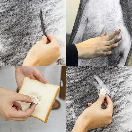 横浜美術学院の中学生教室 美術クラブ 手で描く!指で描く!「木炭デッサン」1