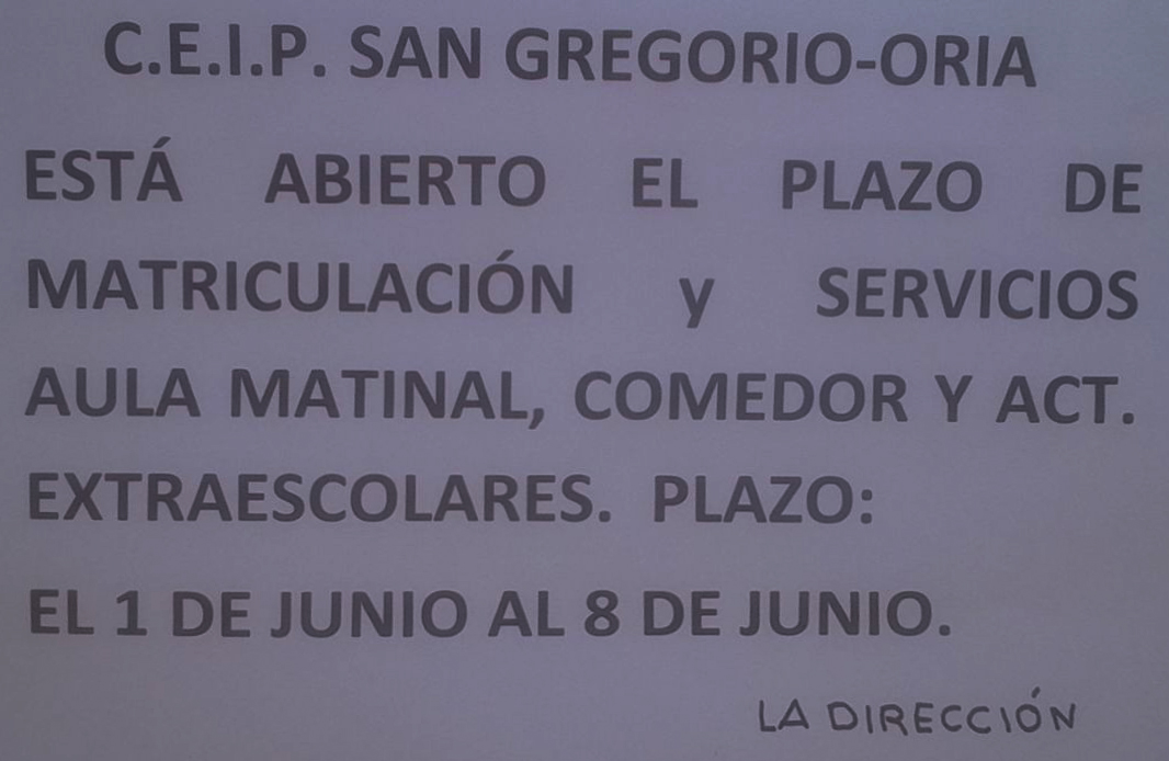 Plazo de matriculación CEIP S. Gregorio