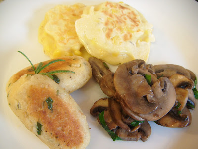 A vegetarian cooked breakfast with Glamorgan sausages