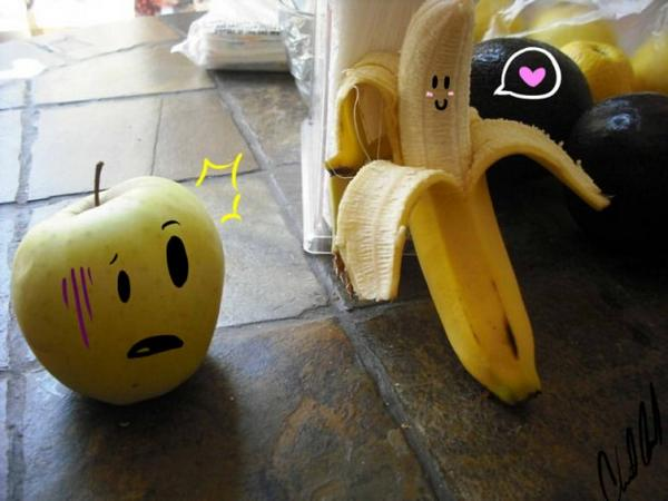 funny banana showing some mood image