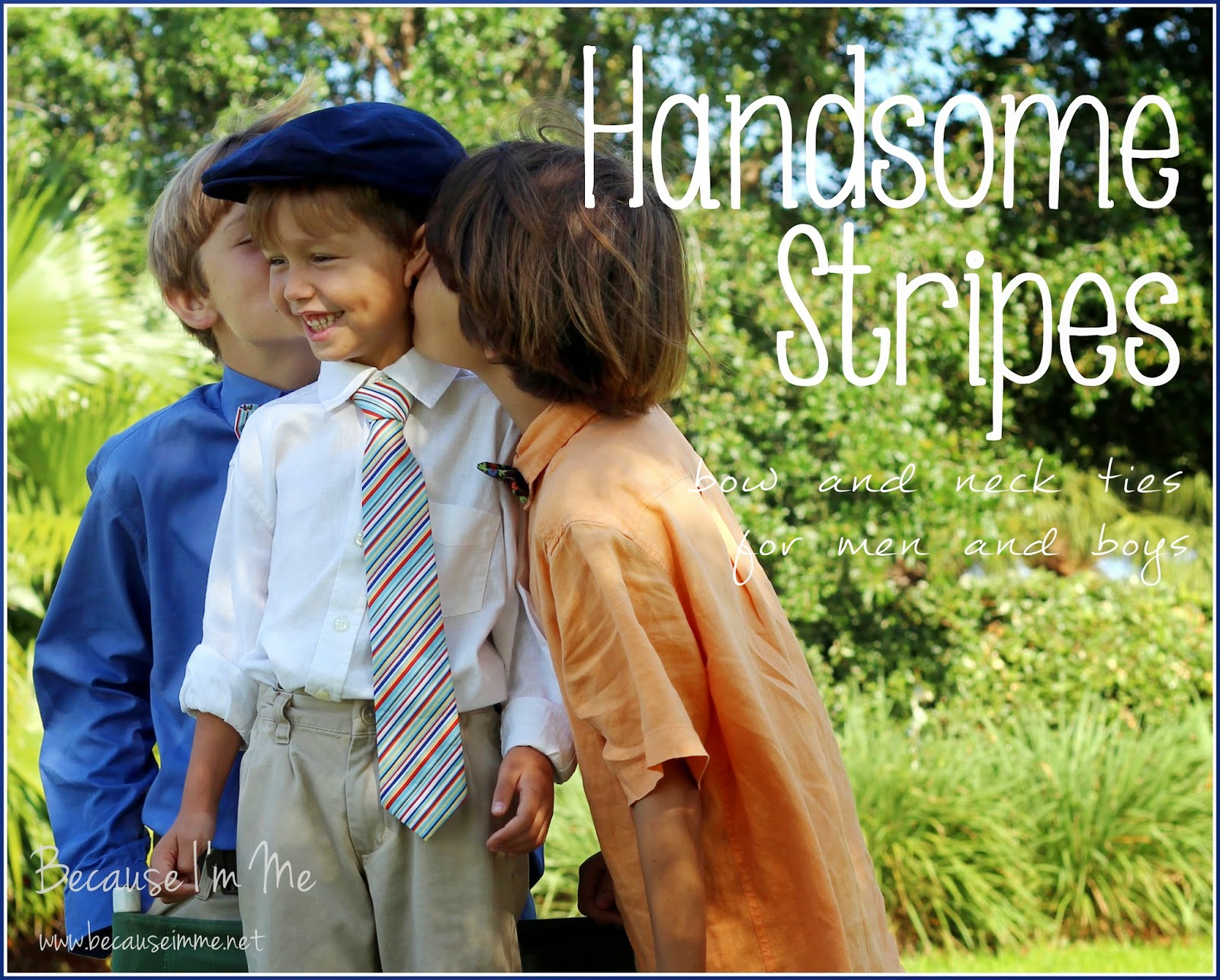 Because I'm Me handsome striped cotton bow and neck ties for men and boys