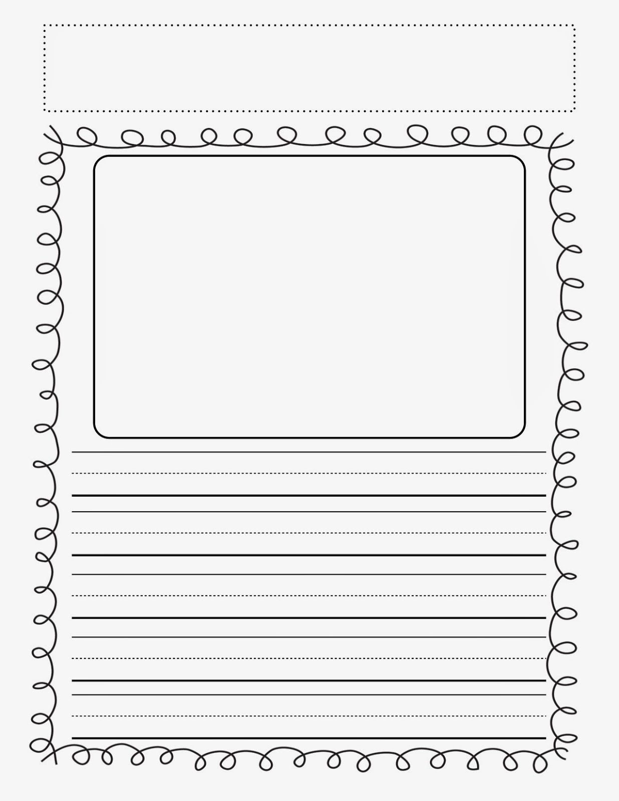 printable story writing paper kindergarten Here is a handy writing paper for primary grades it includes a picture box as well  as 3 large print lines for writing.