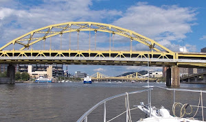 A gazillion boats outside the Pirates ballpark, just beyond Steelers Stadium. 700 bridges in Pbgh,