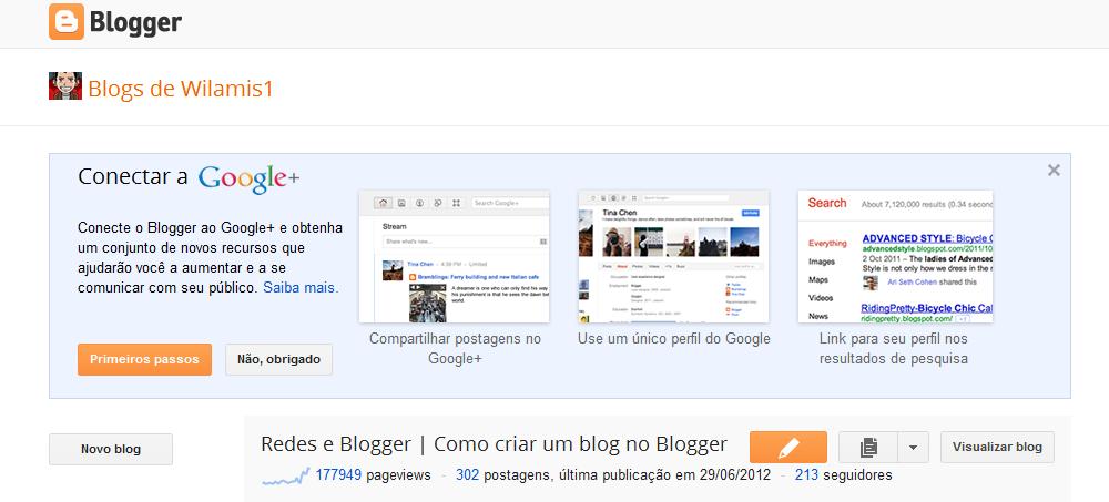 Conecte sua conta do Blogger ao Google+ - Passo 1