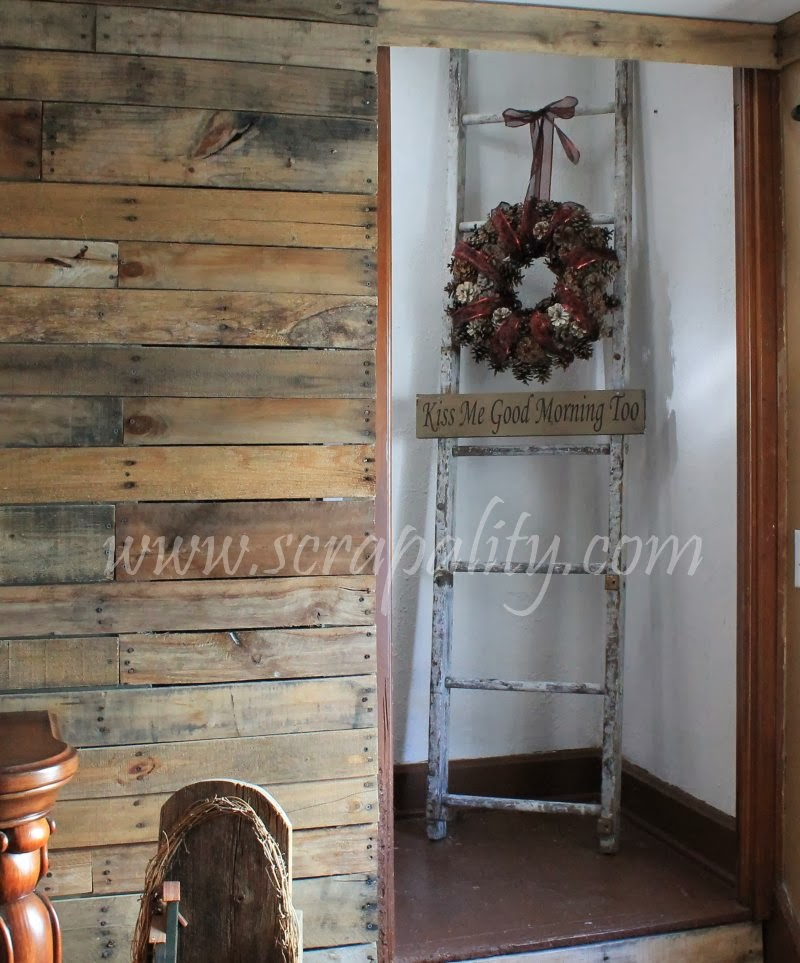 Vintage ladder and wreath staircase decor - Ladders for decorating stairs ...