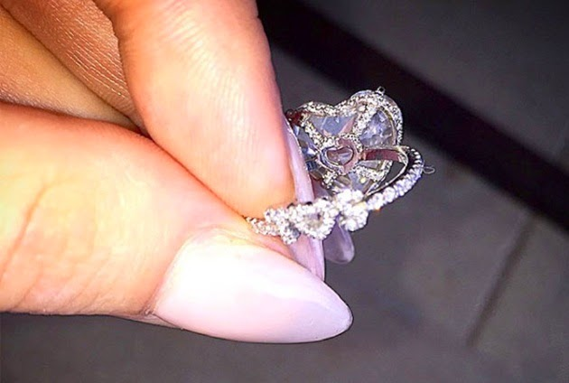 Lady Gaga's engagement ring with heart shape solitaire set in platinum