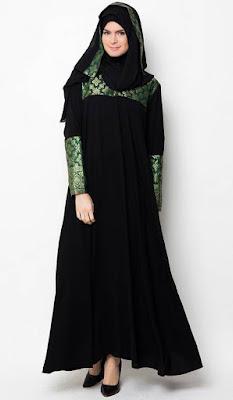 Baju Muslim Gamis Lebaran Warna Hitam Dengan Motif