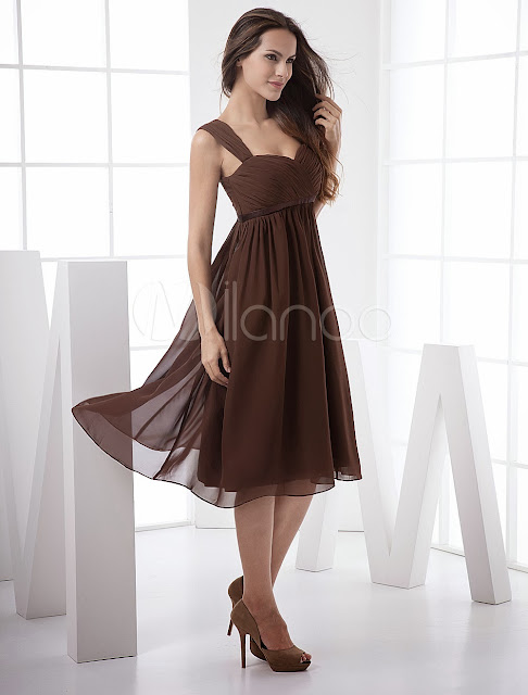 China Wholesale Clothes - Fabulous Sweetheart Empire Waist Pleated Tea Length Chiffon Prom Dress