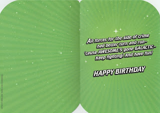 Interior of Green Lantern doorknob hanger birthday card from Hallmark