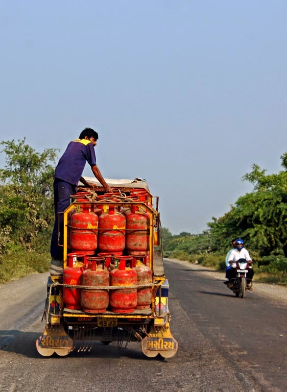LPG gas cylinders in an open van