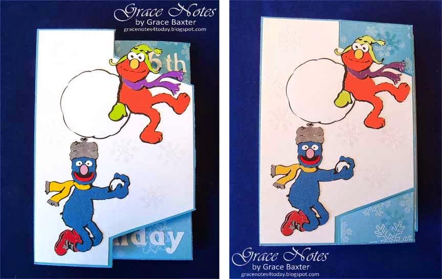 Sesame St. Angled shutter card, shutters flipped