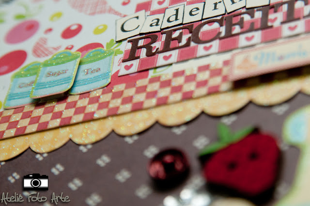 Caderninho de receitas com scrapbook