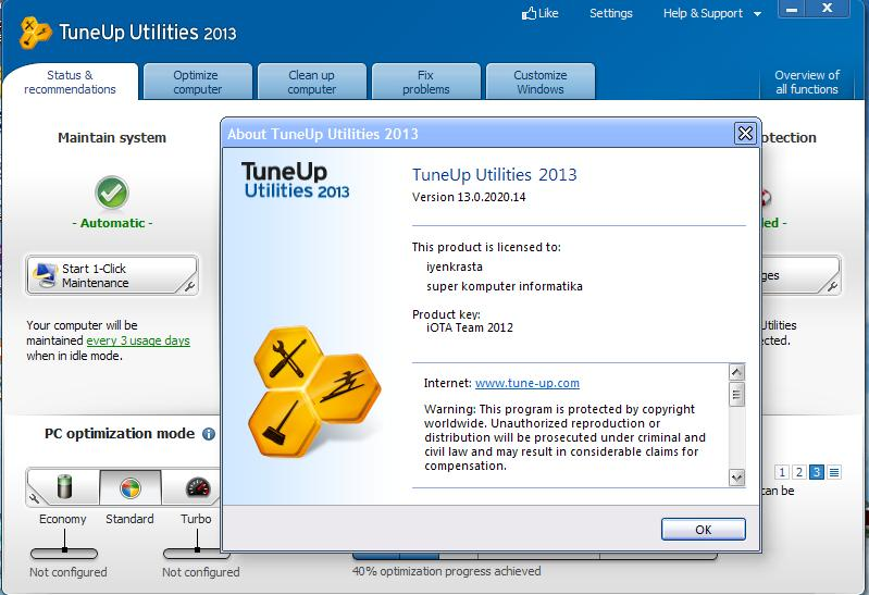 ScreenShoot TuneUp Utilities 2013 13.0.2013.194 Final Full Patch
