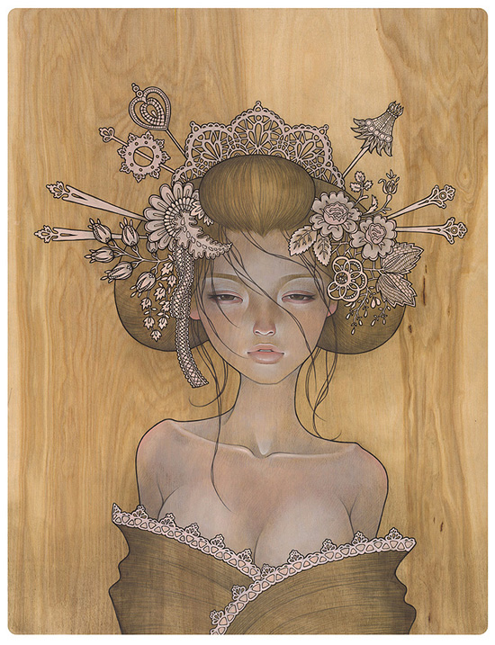 Clairista artista audrey kawasaki - Wood panel artwork ...
