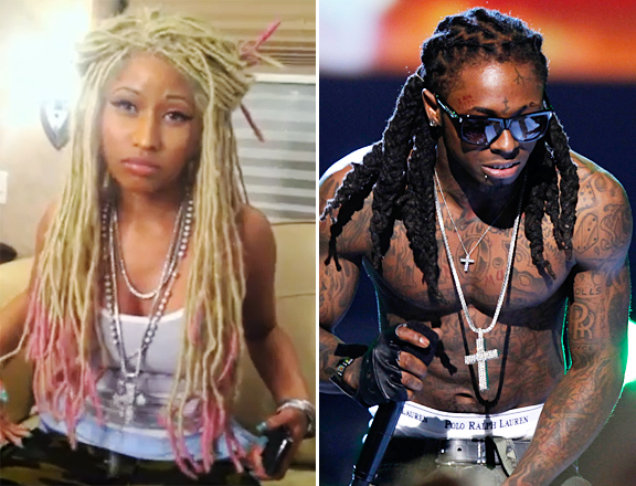Lil wayne s look for y u mad music video sports pink tipped dreads