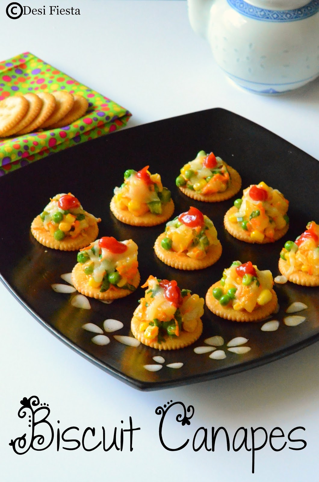 Desi fiesta biscuit canapes with vegetable topping for Vegetarian canape ideas