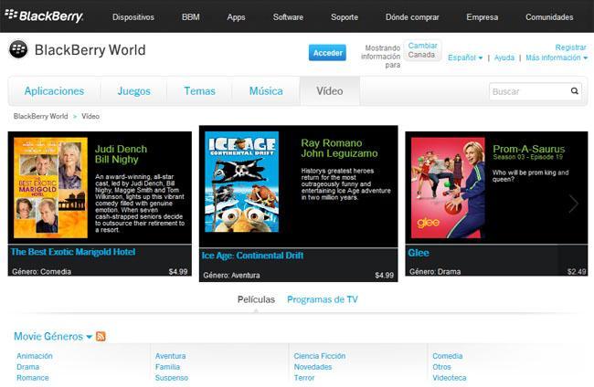 BlackBerry World ahora venderá peliculas, música y series