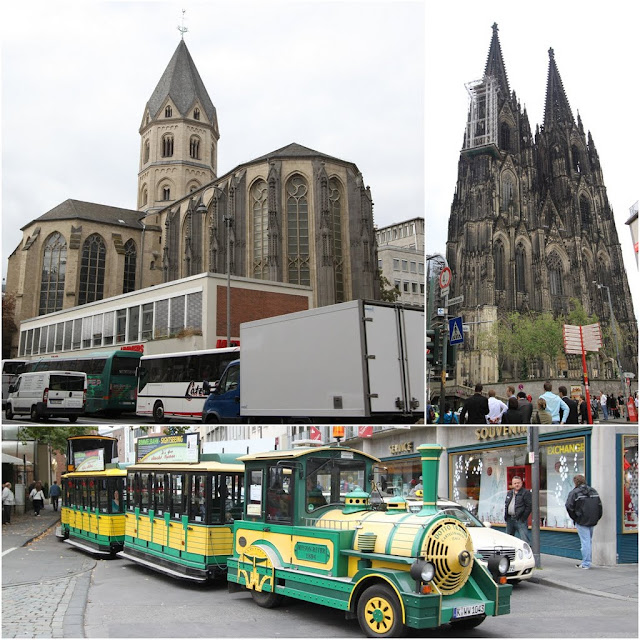 From top left clockwise St Paul Church, Cologne Cathedral and the tram in the downtown of Cologne, Germany