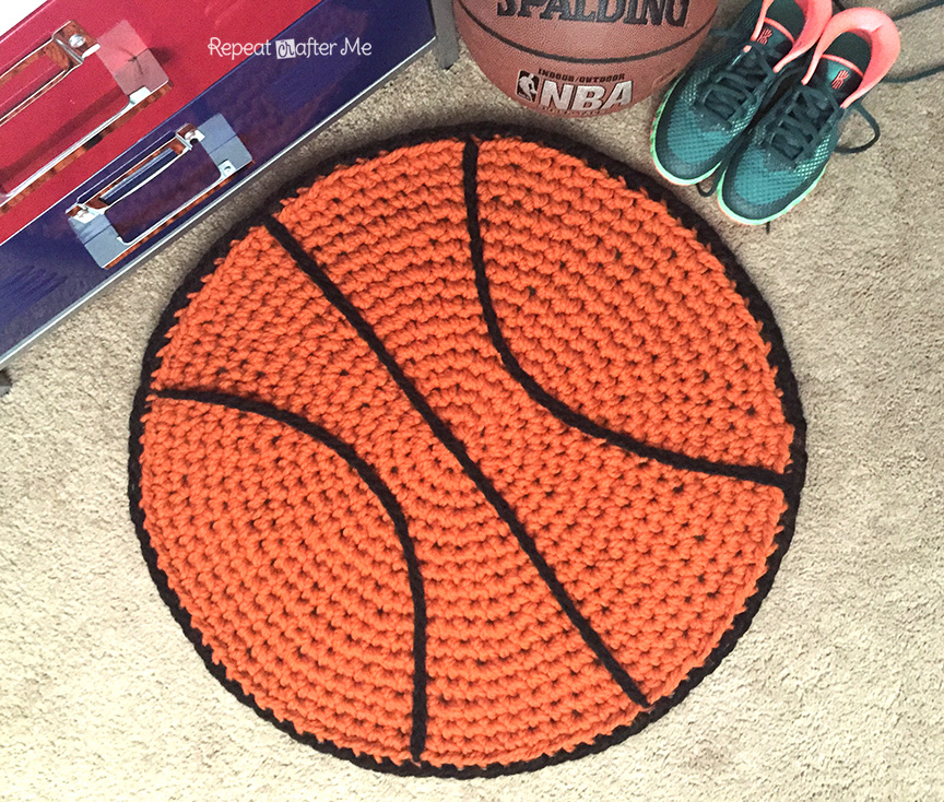 Crochet Basketball Rug - Repeat Crafter Me