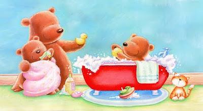 oso pardo bañandose