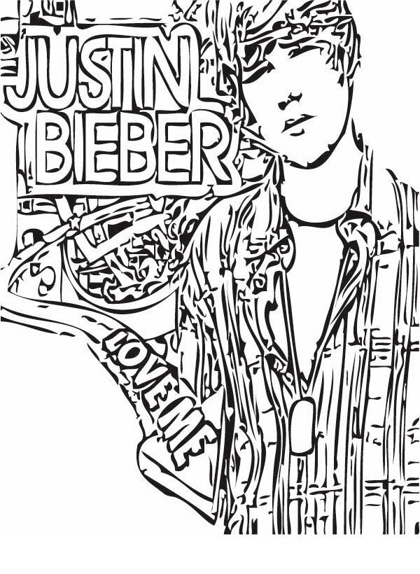 Justin Bieber para colorear y pintar - Dibujo Views