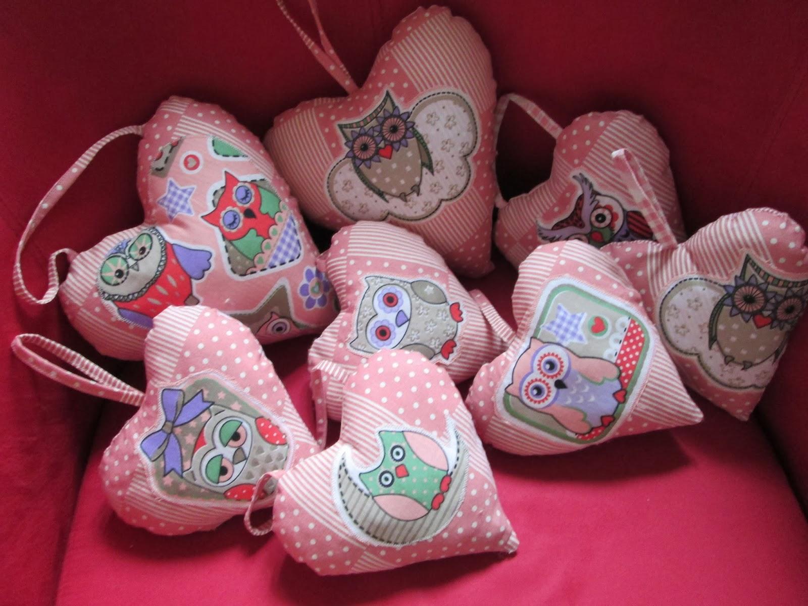 creazioni con stoffa cuore da appendere gufo