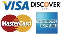 Visa, Discover, Master Card & American Express