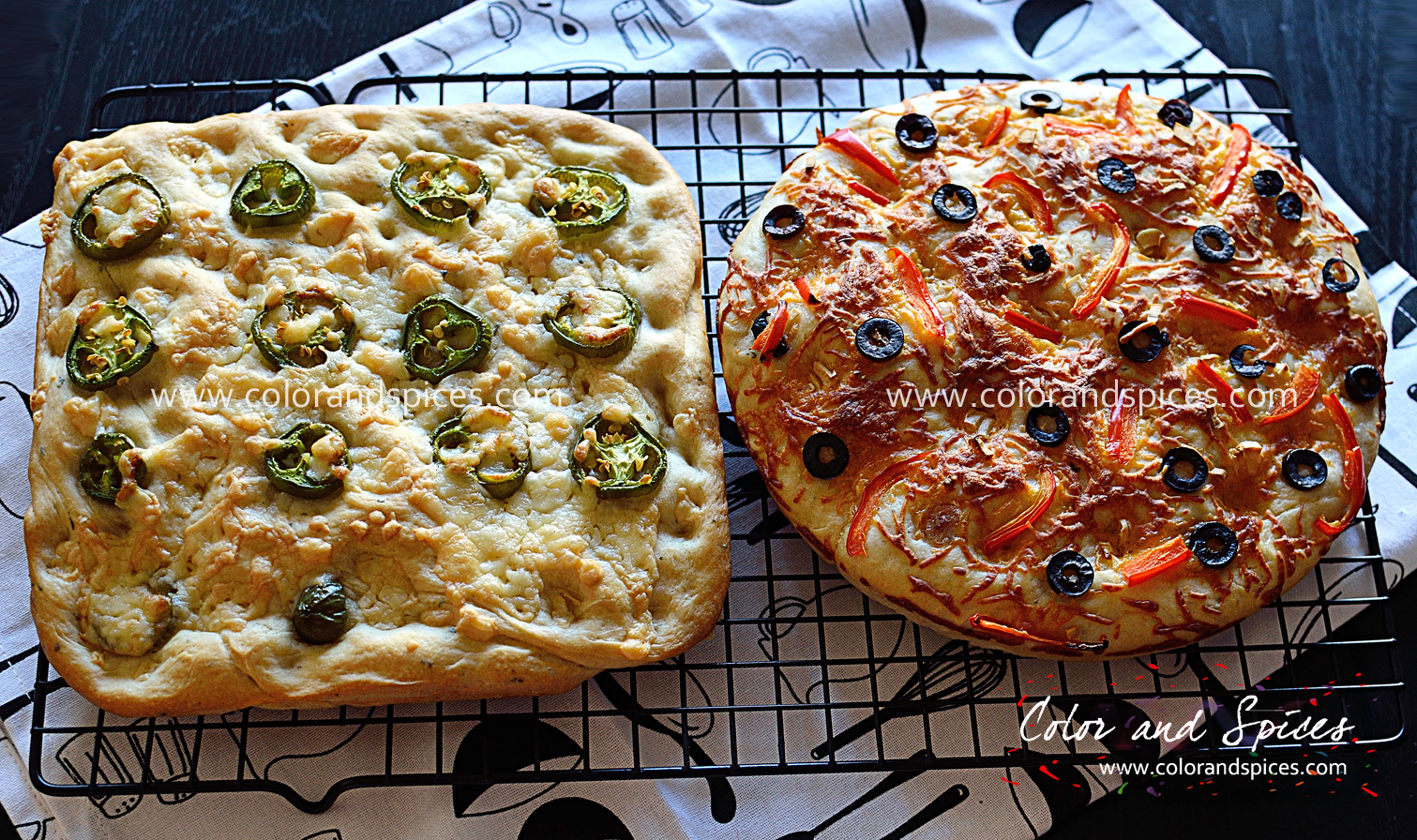 Focaccia Toppings Color and spices: homemade focaccia..