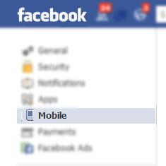الهاتف المحمول في الفيسبوك SMS
