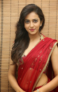 Actress Rakul Preet Singh  Pictures in Red Saree at Tiger Audio Release Function  6.JPG