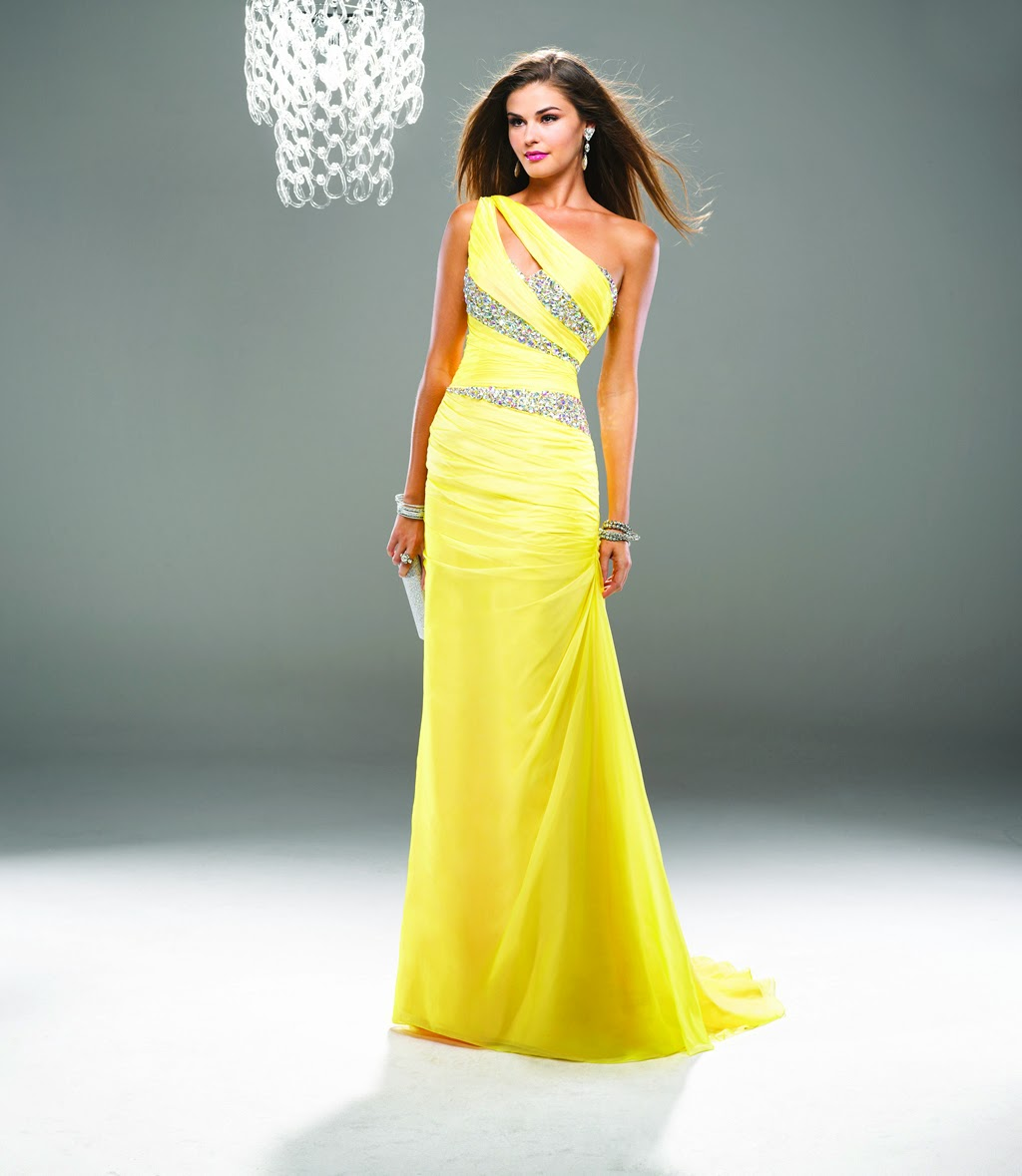 One Shoulder Beading Yellow Chiffon Prom Dresses Long on Sale