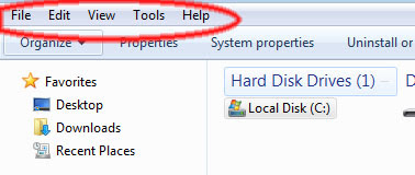 How to show Windows 7 Menu Bar
