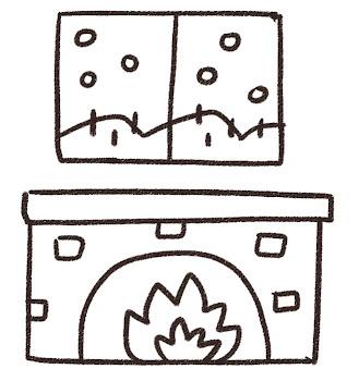 暖炉と雪景色のイラスト 白黒線画
