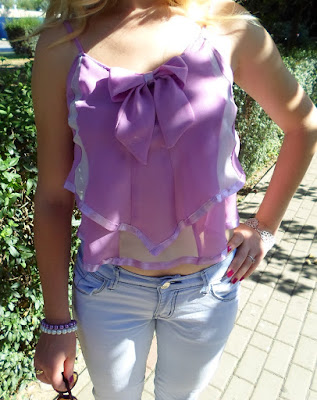 Fioletowy, pastelowy, krótki top na ramiączkach DIY // Violet, pastel top DIY