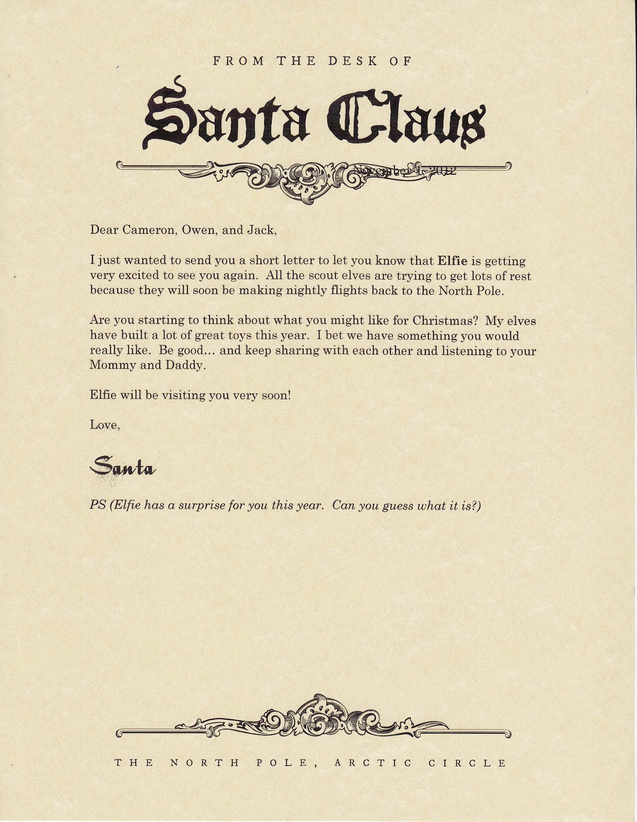 Elf The Movie Santa Announcement Elf on the shelf - letter from