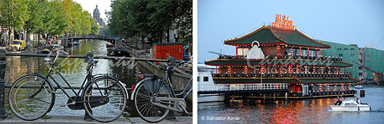 Bicicletas, canal y restaurante flotante en Amsterdam