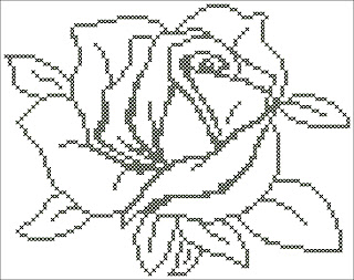 Black and white rose, floral, flower, silhouette, rose, back stitch, cross-stitch scheme, free pattern, x-stitch, stitch, free, вышивка крестиком, бесплатная схема, хрестик, punto croce, schemi punto croce gratis, DMC, blocks, symbols