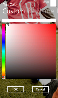 Text color - customize the selected color