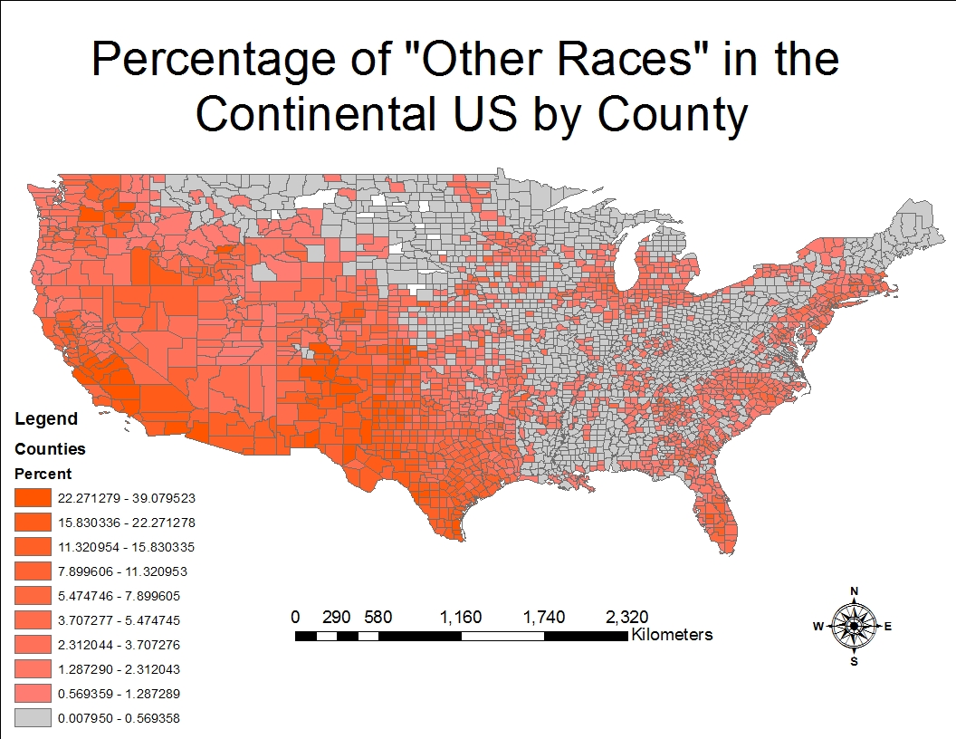 the percentage of other races which predominantly is comprised of latinos as suggested by the t a is significantly greater in western u s they are