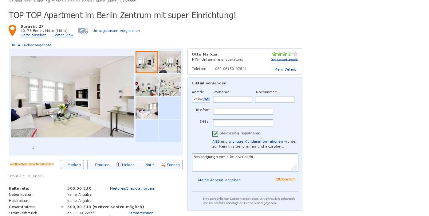 kay b20 im gehackten makler account auf immobilienscout von otto markus hw. Black Bedroom Furniture Sets. Home Design Ideas